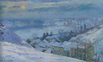 Snowy Night Painting - The Village Of Herblay Under Snow by Albert-Charles Lebourg