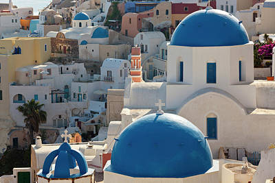 Adam Photograph - The Village Of Oia Santorini Cyclades by Peter Adams