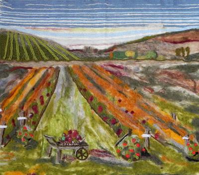 Fiber Art Painting - The Vineyard by Christine Lathrop