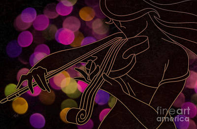 Mystical Women Mixed Media - The Violinist by Bedros Awak