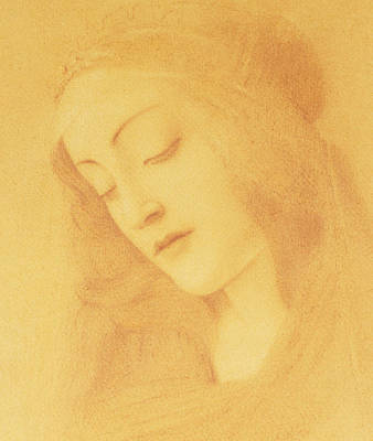 Christianity Drawing - The Virgin After Botticelli by Fernand Khnopff