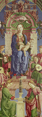 Religious Art Painting - The Virgin And Child Enthroned by Cosimo Tura
