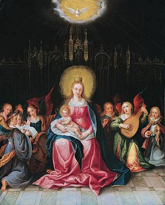 The Virgin And Child Surrounded Print by Cornelis de I Baellieur