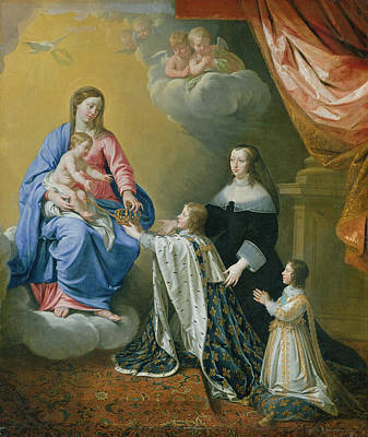 The Royal Family Painting - The Virgin Mary Gives The Crown And Sceptre To Louis Xiv, 1643  by Philippe de Champaigne