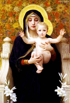 William-adolphe Bouguereau Painting - The Virgin Of The Lilies by William-Adolphe Bouguereau