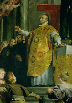 Society Photograph - The Vision Of St. Ignatius Of Loyola C.1491-1556 Detail Of The Saint, 1617-18 Oil On Canvas by Peter Paul Rubens