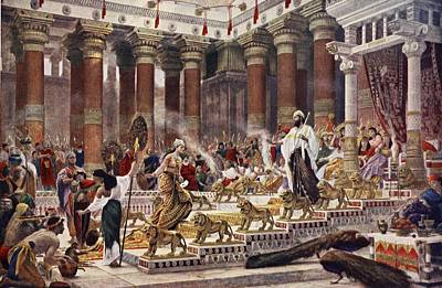 Peacock Drawing - The Visit Of The Queen Of Sheba To King by Sir Edward John Poynter