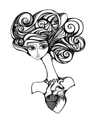 Eye Lashes Drawing - The Vital Center by Jody Pham