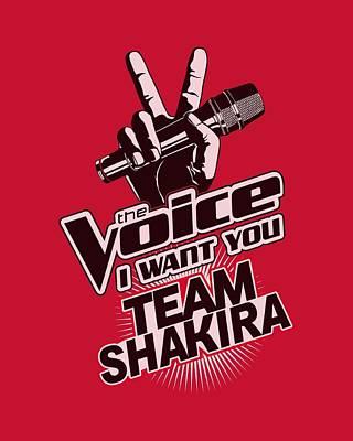 Shakira Digital Art - The Voice - Team Shakira by Brand A