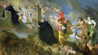 The Vows Of Saint Aloysius Of Gonzaga Oil On Canvas Print by Theodor Boeyermans