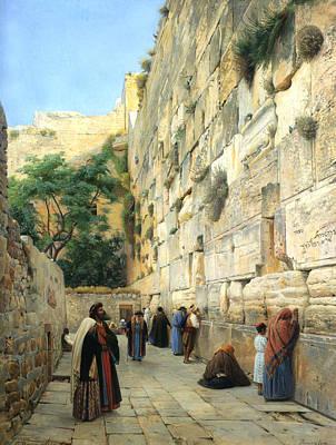 Walkway Digital Art - The Wailing Wall Jerusalem by Gustav Bauernfeind