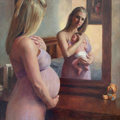 Self-portrait Painting - The Wait And The Reward by Anna Rose Bain