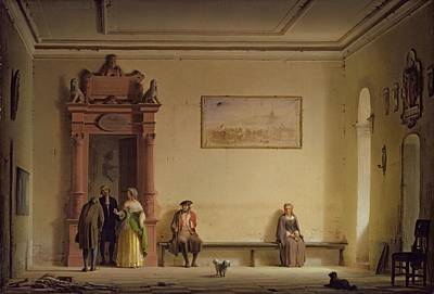 The Waiting Room, 1857 Oil On Canvas Print by Hermann Dyck