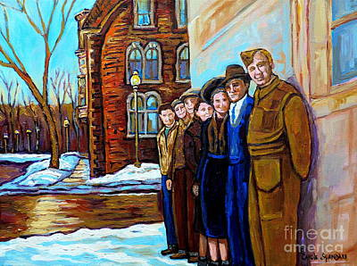 Montreal Winter Scenes Painting - The War Years 1942 Montreal St Mathieu And De Maisonneuve Street Scene Canadian Art Carole Spandau by Carole Spandau