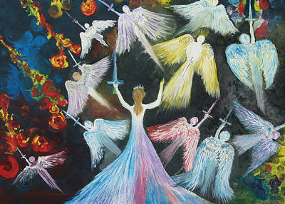 Angels Painting - The Warrior Bride by Rachael Pragnell