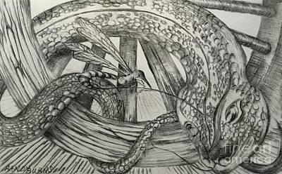 Viper Drawing - The Wasp And The Snake by Randol Burns