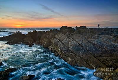 The Watcher - Rocky Asilomar Beach In Monterey Bay. Print by Jamie Pham
