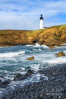 The Watcher - Yaquina Head Lighthouse On The Oregon Coast. Print by Jamie Pham