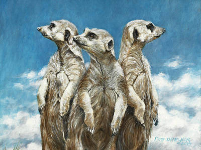 Meerkat Painting - The Watchers by Rob Dreyer AFC