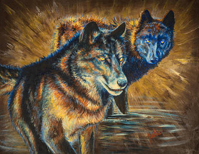Wolf Painting - The Watchers by Teshia Art