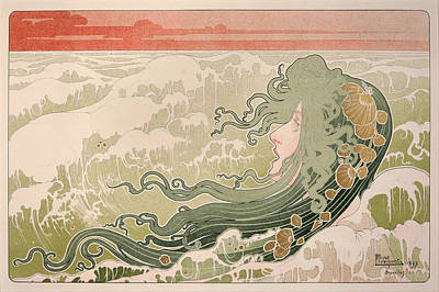 Water And Plants Painting - The Wave by Henri Privat-Livemont