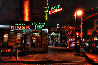 The Waverly Diner And Empire State Building Print by Randy Aveille