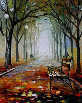 The Way To The Fog - Palette Knife Oil Painting On Canvas By Leonid Afremov Original by Leonid Afremov