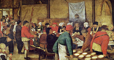 Pouring Wine Painting - The Wedding Supper by Pieter the Younger Brueghel