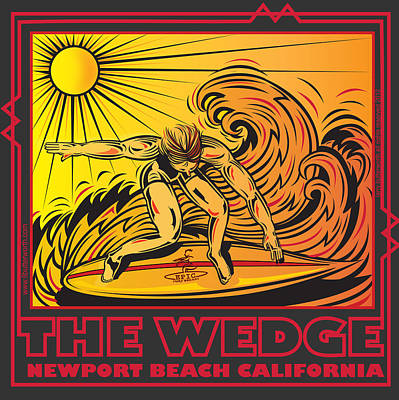 The Wedge Newport Beach California Print by Larry Butterworth