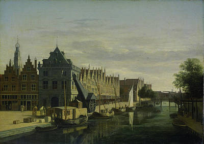 Harlem Drawing - The Weigh House And The Crane On The Spaarne In Harlem by Litz Collection