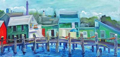 Shark Painting - The Wharf In August by Maria Milazzo