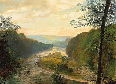 Anglers Painting - The Wharfe Valley With Barden Tower Beyond by John Atkinson Grimshaw