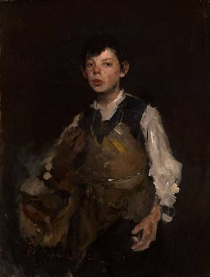 The Whistling Boy, 1902 Oil On Canvas Print by Frank Duveneck