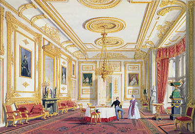 The White Drawing Room At Windsor Castle Print by Joseph Nash