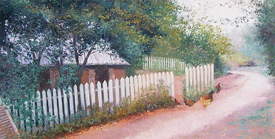 Country Scene Painting - The White Picket Fence by Jan Matson