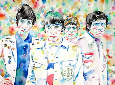 Townshend Painting - The Who - Watercolor Portrait by Fabrizio Cassetta