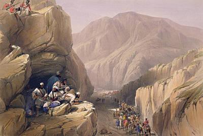 Mountain Drawing - The Wild Pass Of Siri-kajoor by James Atkinson