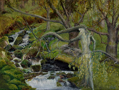Hair-washing Painting - The Willow Woman Washing Her Hair by Kathryn Bell