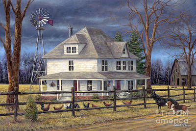 Windmill Painting - The Wind Takes You Back by Chuck Pinson