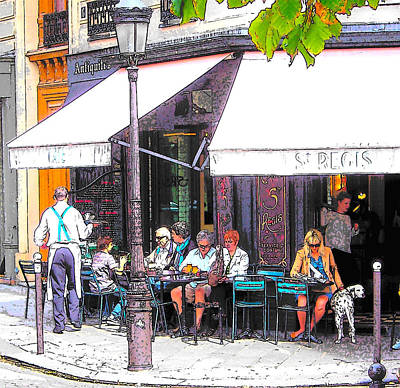 The Wine Bar In Paris Print by Jan Matson