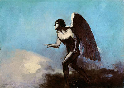 Religious Art Painting - The Winged Man Or Fallen Angel by Odilon Redon