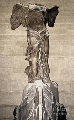The Winged Victory Of Samothrace Marble Sculpture Of The Greek Goddess Nike Victory Print by Gregory Dyer