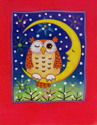 Man In The Moon Painting - The Winking Owl by Cathy Baxter