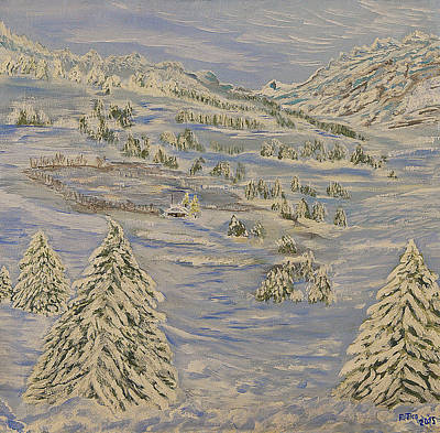 Ski Painting - The Winter Heart by Felicia Tica