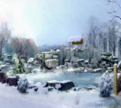 Snowscape Mixed Media - The Wishing Well by Georgiana Romanovna