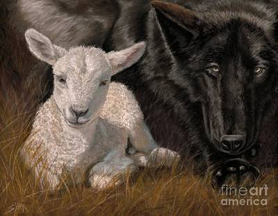 Wolf Painting - The Wolf And The Lamb by Sheri Gordon