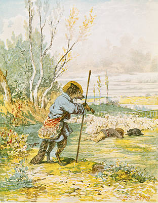 Wolf Drawing - The Wolf As A Shepherd by Jules David