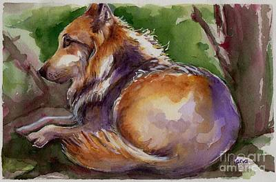 Wolf Watercolor Painting - The Wolf Star by Maria's Watercolor