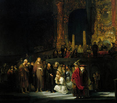 Temple Painting - The Woman Taken In Adultery by Rembrandt