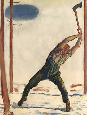 Axes Painting - The Woodcutter  by Mountain Dreams